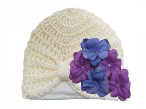 Cream Tiny Turban with Lavender Purple Small Geraniums