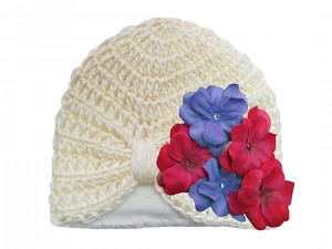 Cream Tiny Turban with Lavender Raspberry Small Geraniums