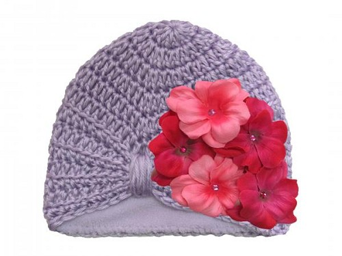 Lavender Tiny Turban with Pink Raspberry Small Geraniums