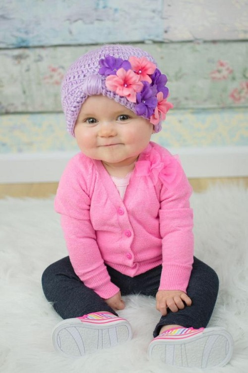 Lavender Tiny Turban with Purple Pink Small Geraniums