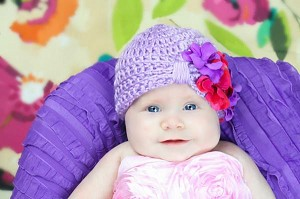 Lavender Tiny Turban with Purple Raspberry Small Geraniums