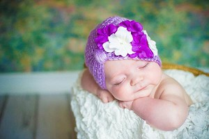 Lavender Tiny Turban with White Purple Small Geraniums