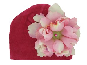 Raspberry Velvet Hat with Candy Pink Large Peony
