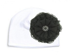 White Velvet Hat with Black Lace Rose