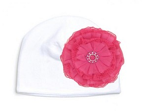 White Velvet Hat with Raspberry Lace Rose