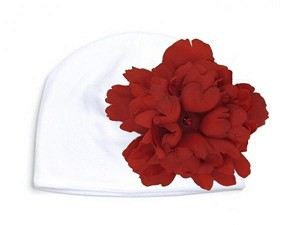 White Velvet Hat with Red Large Peony