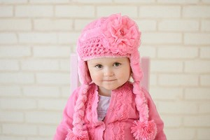 Candy Pink Winter Wimple Hat with Candy Pink Lace Rose