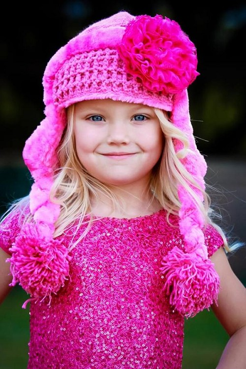 Candy Pink Winter Wimple Hat with Raspberry Lace Rose