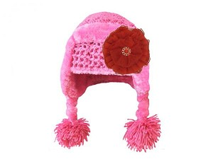 Candy Pink Winter Wimple Hat with Red Lace Rose