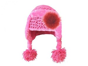 Candy Pink Winter Wimple Hat with Red Large regular Marabou