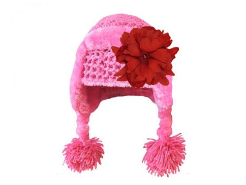 Candy Pink Winter Wimple Hat with Red Small Peony