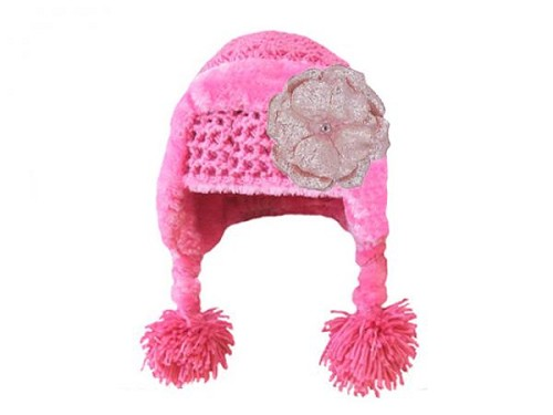 Candy Pink Winter Wimple Hat with Sequins Pale Pink Rose