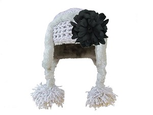 Gray Winter Wimple Hat with Black Small Peony