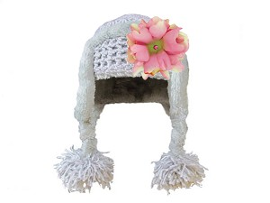 Gray Winter Wimple Hat with Candy Pink Small Peony