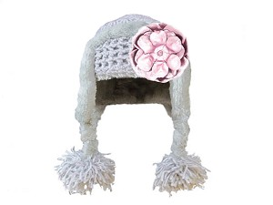Gray Winter Wimple Hat with Metallic Pale Pink Rose