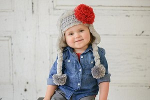 Gray Winter Wimple Hat with Red Lace Rose