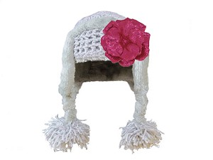 Gray Winter Wimple Hat with Sequins Raspberry Rose