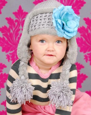 Gray Winter Wimple Hat with Teal Small Rose