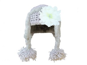 Gray Winter Wimple Hat with White Small Peony