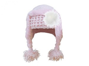 Pale Pink Winter Wimple Hat with Cream Large regular Marabou