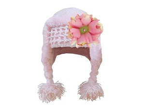 Pale Pink Winter Wimple Hat with Pale Pink Small Peony