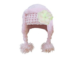 Pale Pink Winter Wimple Hat with Pale Pink Small Rose
