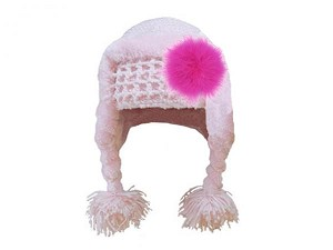Pale Pink Winter Wimple Hat with Raspberry Large regular Marabou