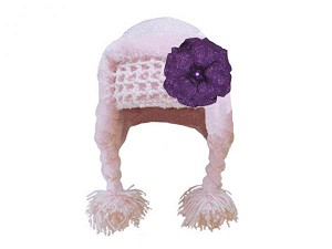 Pale Pink Winter Wimple Hat with Sequins Purple Rose