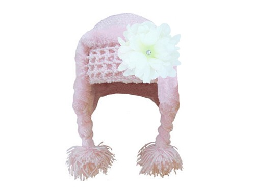 Pale Pink Winter Wimple Hat with White Small Peony
