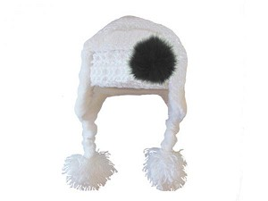 White Winter Wimple Hat with Black Large regular Marabou