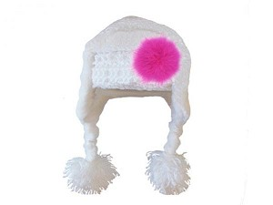 White Winter Wimple Hat with Raspberry Large regular Marabou