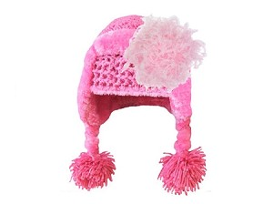 Candy Pink Winter Wimple w Candy Pink Curly Marabou
