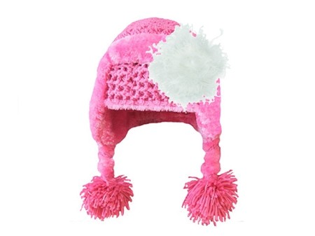Candy Pink Winter Wimple w White Curly Marabou