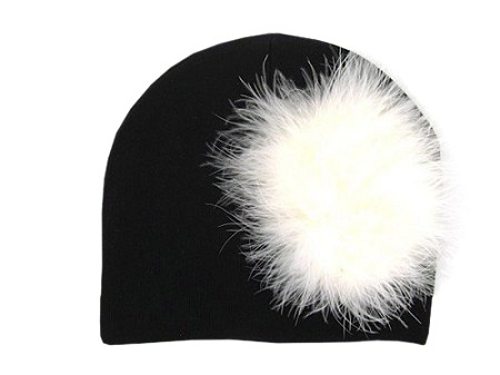Black Cotton Hat with Cream Large regular Marabou