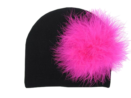 Black Cotton Hat with Hot Pink Large regular Marabou