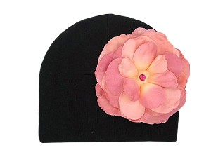Black Cotton Hat with Candy Pink Large Rose