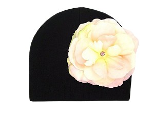 Black Cotton Hat with Pale Pink Large Rose