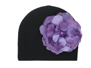 Black Cotton Hat with Purple Large Rose
