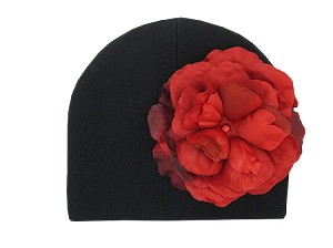 Black Cotton Hat with Red Large Rose