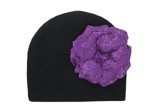 Black Cotton Hat with Sequins Purple Rose