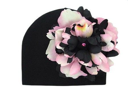 Black Cotton Hat with Pink Black Large Peony