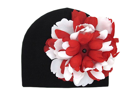 Black Cotton Hat with Red White Large Peony