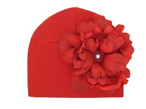 Red Cotton Hat with Red Large Peony