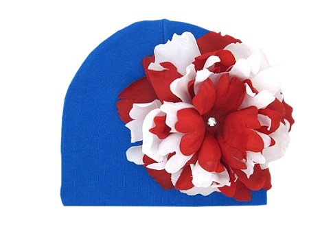 Royal Blue Cotton Hat with Red White Large Peony