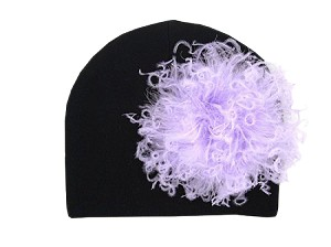 Black Cotton Hat with Lavender Large Curly Marabou
