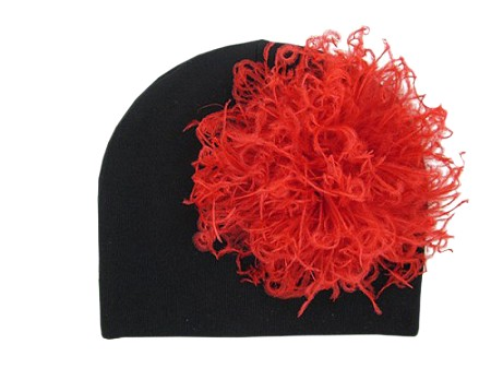 Black Cotton Hat with Red Large Curly Marabou