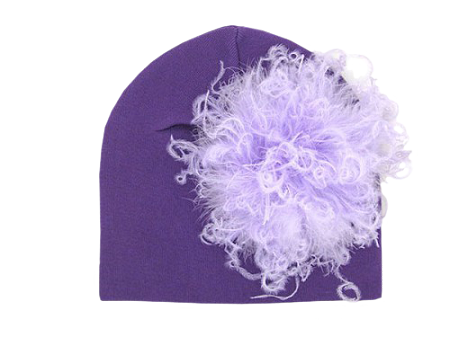 Purple Cotton Hat with Lavender Large Curly Marabou