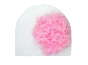 White Cotton Hat with Candy Pink Large Curly Marabou