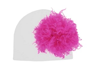 White Cotton Hat with Raspberry Large Curly Marabou