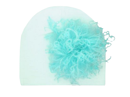 White Cotton Hat with Teal Large Curly Marabou